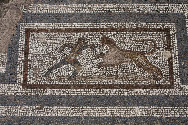 Mosaik mit Jäger und Eber in den Westlichen Ausgrabungen